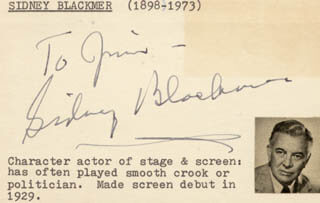 SIDNEY BLACKMER - INSCRIBED SIGNATURE