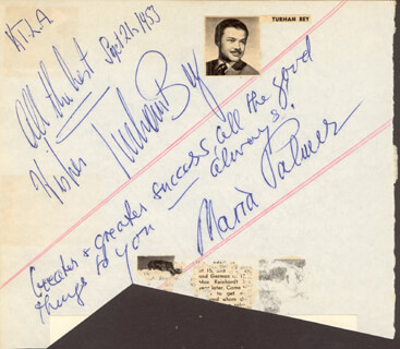 TURHAN BEY - AUTOGRAPH 09/21/1953 CO-SIGNED BY: MARIA PALMER, GOGI GRANT