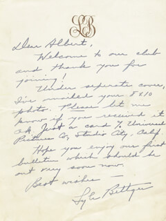 LYLE BETTGER - AUTOGRAPH LETTER SIGNED