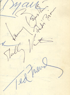 LEONARD BERNSTEIN - AUTOGRAPH CO-SIGNED BY: TED FRIEND, ANDRE PREVIN, SHELLEY WINTERS