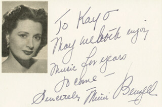 MIMI BENZELL - AUTOGRAPH NOTE SIGNED