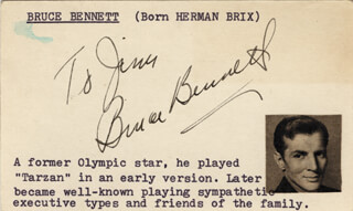 BRUCE (HERMAN BRIX) BENNETT - INSCRIBED CARD SIGNED