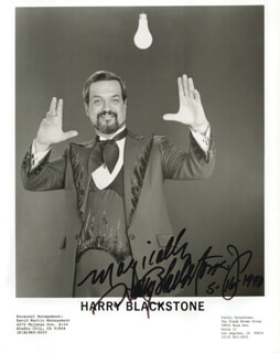 HARRY BLACKSTONE JR. - AUTOGRAPHED SIGNED PHOTOGRAPH 05/16/1990
