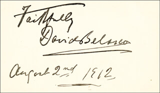 DAVID BELASCO - AUTOGRAPH SENTIMENT SIGNED 08/02/1912