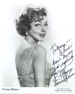VIVIAN BLAINE - AUTOGRAPHED INSCRIBED PHOTOGRAPH