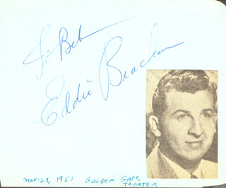 EDDIE BRACKEN - INSCRIBED ALBUM LEAF SIGNED