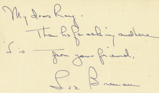 Autographs: LEE BOWMAN - AUTOGRAPH NOTE SIGNED 10/05/1953