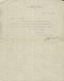 ARTHUR BOURCHIER - TYPED NOTE SIGNED 03/04/1910