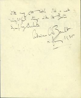 SIR ADRIAN C. BOULT - AUTOGRAPH SENTIMENT SIGNED 01/12/1935