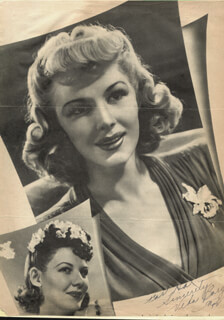 VEDA ANN BORG - INSCRIBED MAGAZINE PHOTO SIGNED 1942