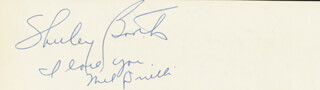 SHIRLEY BOOTH - AUTOGRAPH NOTE SIGNED