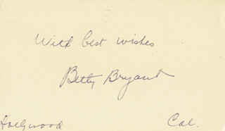 BETTY BRYANT - AUTOGRAPH POST CARD SIGNED