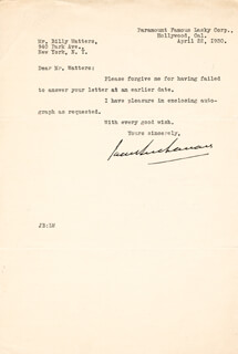 JACK BUCHANAN - TYPED LETTER SIGNED 04/22/1930