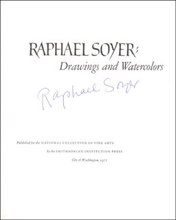 RAPHAEL SOYER - BOOK SIGNED