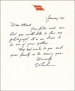 GENERAL EARLE G. WHEELER - AUTOGRAPH LETTER SIGNED 01/01/1991