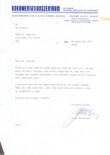Autographs: SIMON WIESENTHAL - TYPED LETTER SIGNED 12/30/1986