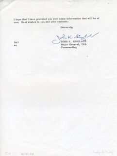 MAJOR GENERAL JOHN K. SINGLAUB - TYPED LETTER SIGNED 12/21/1973