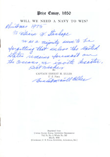 Autographs: ADMIRAL ERNEST MCNEILL ELLER - ANNOTATED PAMPHLET SIGNED 12/1975