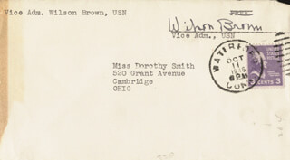 Autographs: VICE ADMIRAL WILSON BROWN - ENVELOPE SIGNED CIRCA 1946