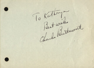 CHARLES BUTTERWORTH - AUTOGRAPH NOTE SIGNED