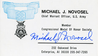 Autographs: LT. COLONEL MICHAEL J. NOVOSEL - PRINTED CARD SIGNED IN INK