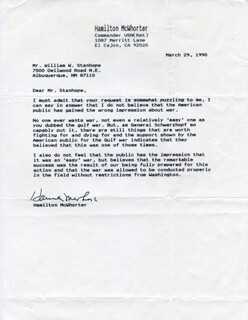 COMMANDER HAMILTON MCWHORTER - TYPED LETTER SIGNED 03/29/1990