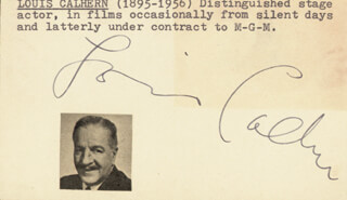 LOUIS CALHERN - PRINTED CARD SIGNED IN INK