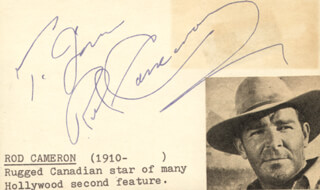 ROD CAMERON - INSCRIBED SIGNATURE