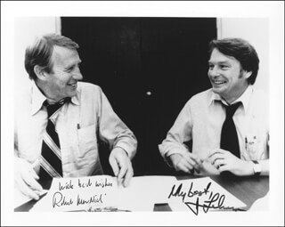 THE MacNEIL-LEHRER NEWSHOUR TV CAST - AUTOGRAPHED SIGNED PHOTOGRAPH CO-SIGNED BY: ROBERT MacNEIL, JIM LEHRER