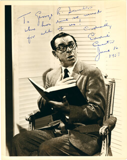 EDDIE CANTOR - AUTOGRAPHED SIGNED PHOTOGRAPH 06/16/1958