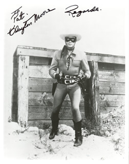 CLAYTON THE LONE RANGER MOORE - AUTOGRAPHED INSCRIBED PHOTOGRAPH