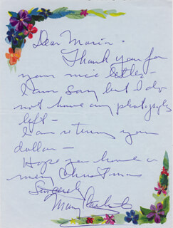 MARY CARLISLE - AUTOGRAPH LETTER SIGNED