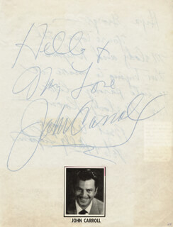 JOHN CARROLL - AUTOGRAPH SENTIMENT SIGNED CO-SIGNED BY: BILLY SNYDER