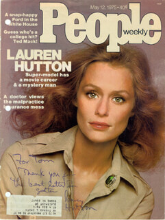 LAUREN HUTTON - INSCRIBED MAGAZINE COVER SIGNED