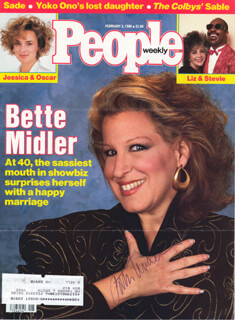 BETTE MIDLER - MAGAZINE COVER SIGNED