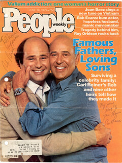Autographs: CARL REINER - INSCRIBED MAGAZINE COVER SIGNED CO-SIGNED BY: ROB REINER