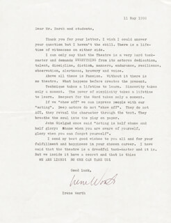 IRENE WORTH - TYPED LETTER SIGNED 05/11/1992