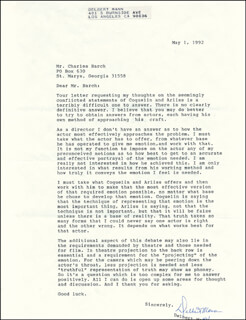 DELBERT MANN - TYPED LETTER SIGNED 05/01/1992