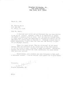 DOUGLAS FAIRBANKS JR. - TYPED LETTER SIGNED 03/22/1992
