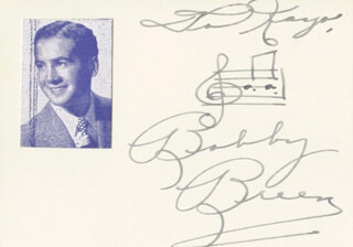 BOBBY BREEN - INSCRIBED AUTOGRAPH MUSICAL QUOTATION SIGNED