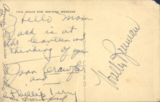 JOAN CRAWFORD - AUTOGRAPH NOTE ON PICTURE POSTCARD SIGNED CO-SIGNED BY: PHILLIP TERRY, WALTER BRENNAN