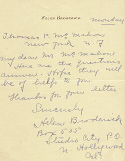 HELEN BRODERICK - AUTOGRAPH LETTER SIGNED