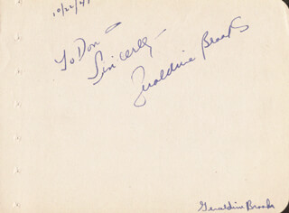 JOAN FONTAINE - AUTOGRAPH NOTE SIGNED 10/22/1947 CO-SIGNED BY: GERALDINE BROOKS