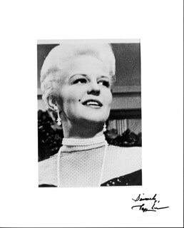PEGGY LEE - AUTOGRAPHED SIGNED PHOTOGRAPH