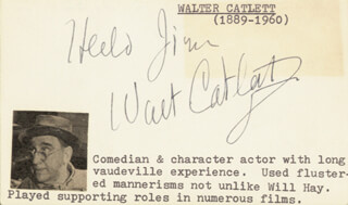 WALTER CATLETT - AUTOGRAPH NOTE SIGNED
