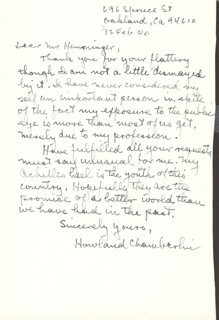 HOWLAND CHAMBERLIN - AUTOGRAPH LETTER SIGNED 02/12/1980