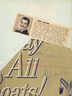 KENT TAYLOR - AUTOGRAPH CO-SIGNED BY: JEFF CHANDLER