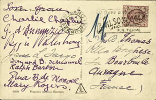 Autographs: CHARLIE THE LITTLE TRAMP CHAPLIN - PICTURE POST CARD SIGNED CO-SIGNED BY: GABRIELE D'ANNUNZIO