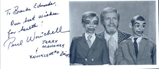 PAUL WINCHELL - AUTOGRAPHED INSCRIBED PHOTOGRAPH