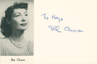 ILKA CHASE - INSCRIBED SIGNATURE